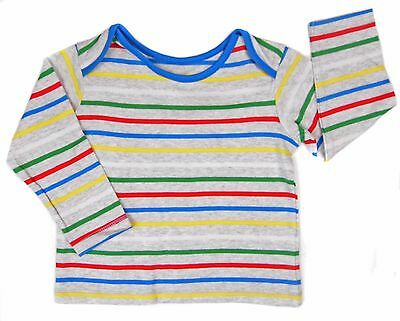 Baby Boys Striped Long Sleeve Top T-shirt Top Multi Coloured Stripe 3M to 18-24M