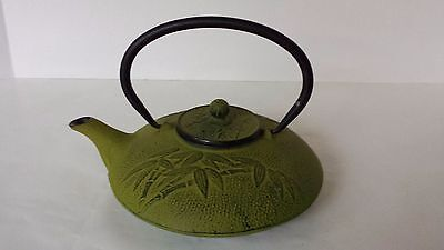 Olive Cast Metal Tea Pot Kettle Green Bamboo Design