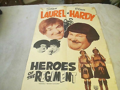 LAUREL & HARDY Original 1935 Movie Poster HEROES of the REGIMENT VG- Condition