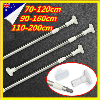 Extendable Telescopic White Curtain Stainless Metal Pole Rod Rail Shower Window