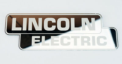 """Mirrored Stainless Steel Lincoln Electric Decal 9"""" x 3-1/8""""   BW1077"""