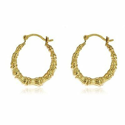 Real 14k Yellow Gold .5 Inch Bamboo Small Hoop Earrings