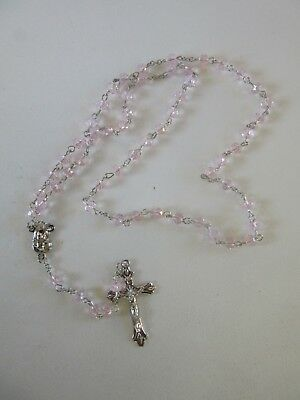 Light Pink Baby Gift Crystal ROSARY Beads Crucifix Christening Communion Favour