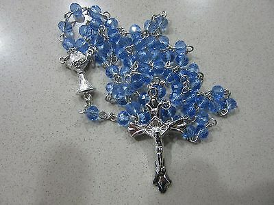 Blue Baby Gift Crystal ROSARY Beads Crucifix Christening Communion Favour XMAS