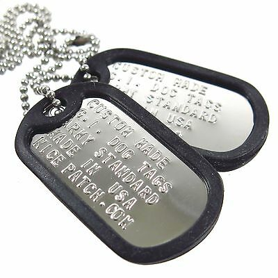 Personalized Custom US Military Dog Tag Set (2Tags+Necklace+Silencer)-Shiny