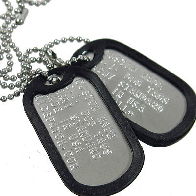 Personalized Custom US Military Dog Tag Set (2Tags+Necklace+Silencer)-Matte