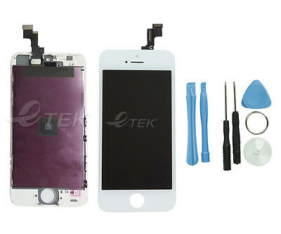 White LCD Display Replacement for iPhone 5S w/ Screen Digitizer Assembly + Tools