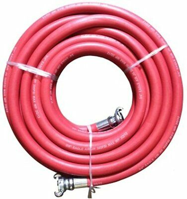 "JGB Eagle Red Jackhammer Rubber Air Hose, 3/4"" Universal Chicago Couplings, 50''"