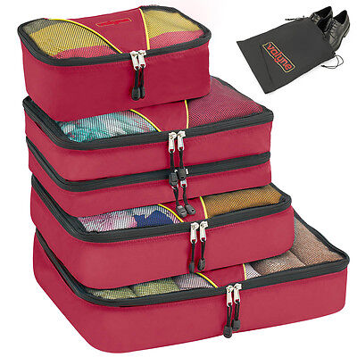 Valyne 4-pcs Burgundy Packing Cubes Set Travel Accessories Luggage Organizer