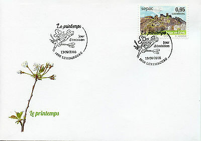 Luxembourg 2016 FDC Seasons SEPAC Spring Bourscheid Castle 1v Set Cover Stamps