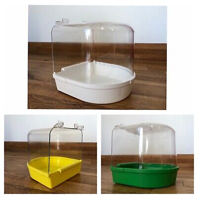 Bird Bath for Finch, Canary, Budgie IN COLOUR OPTIONS Hooks on External cage