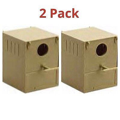 2 x Budgie Nest Box Plastic With Perch And Hooks To Front & Rear Aviary / Cages