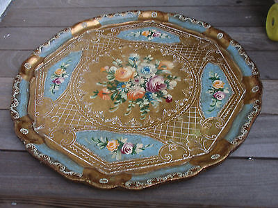 Vintage Legno Wooden Tray Made In Italy 16 3/4 Inches