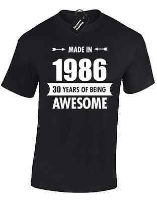 Made In 1986 Mens T Shirt Funny 30Th Birthday Present Gift Idea Top Joke Comedy