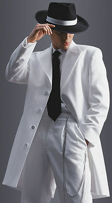 White Zoot Suit Tuxedo Long Duster Frock Gangster Prom Coat Pachucos Dance Tux