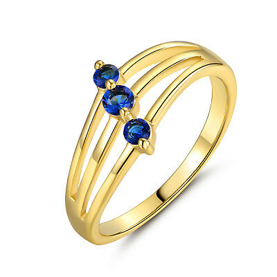 Fashion Design 18k Yellow Gold Filled Blue Sapphire Crystal Banquet Party Rings