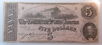 1862 Confederate States Of America Richmond $5 Note