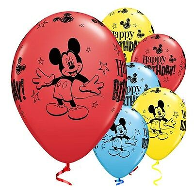 """Mickey Mouse 11"""" Happy Birthday Latex Balloons Qualatex Helium Quality or Air"""