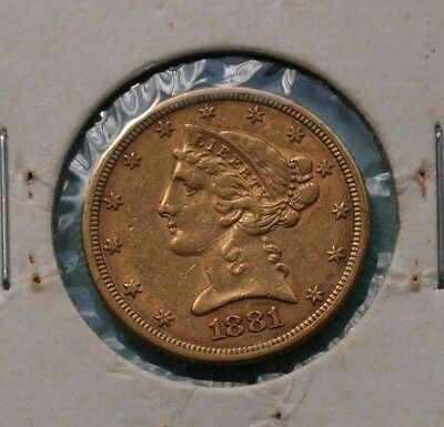 1881 $5 (FIVE) DOLLAR GOLD LIBERTY HALF EAGLE US COIN  *VF to XF DETAILS*