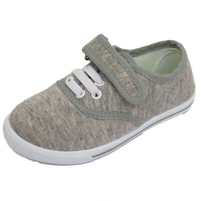 Infant Kids Girls Boys Casual Plimsolls Grey Fabric Shoes Sizes 4 8 & 9