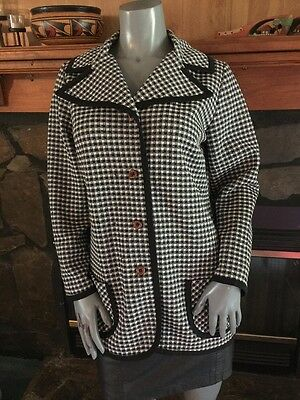 Vintage 70's Polyester Black White Checked Jacket By Hamilton 8 Dallas Size S