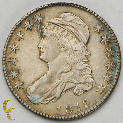 1819 Bust Half Silver Dollar 50c (AU) About Uncirculated Condition