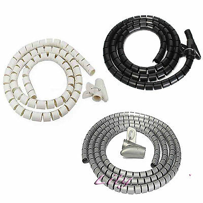 2M Spiral Wrap Cable Tidy Wire Organising Tool Kit Black/ white / Grey