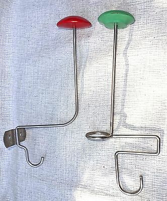 Vtg Wall Shelf Hat Purse Stand Cherry Red Mint Green Pair Store Display Rack