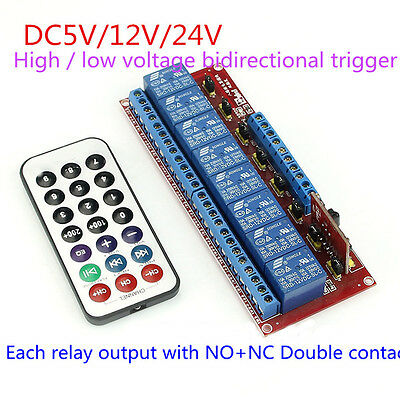 5/12/24V Multi-function Infrared Remote Control 8-Ch Relay Module Bidirectional