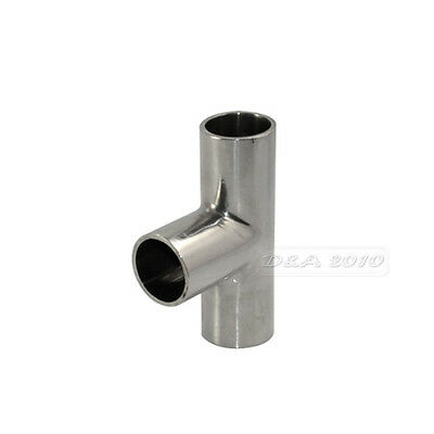 """19mm 3/4"""" 0.75"""" Sanitary Weld TEE 3 Way Pipe Fitting Stainless Steel SS316 New"""