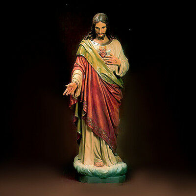 """Statue """"The Sacred Heart of Jesus"""" + 5'-2"""" tall + Fiberglass +Shipping available"""