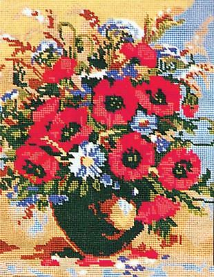 Grafitec Printed Tapestry/Needlepoint Canvas – Poppies and Cornflowers