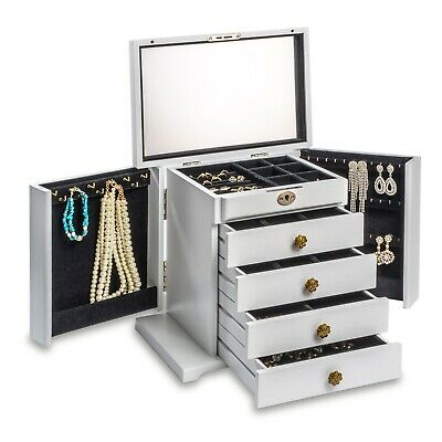 Large Wooden Jewellery Box Vintage Cabinet Necklaces Organizer 7 Drawers Mirror