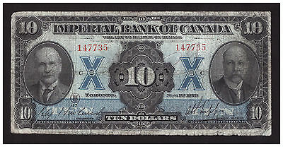 *** Canada 1923, $10 Imperial Bank of Canada, CH-375-18-06, FINE +++ ***