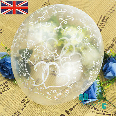"""20pcs 12"""" Clear Entwined Hearts Balloons Helium/Air For Wedding Engagement Love"""