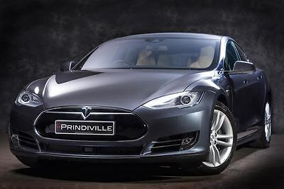 Tesla Model S 85D 2016 in Grey on a Tan Leather Interior