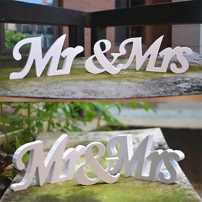 White Mr and Mrs Letters Sign Wooden Standing Top Table Wedding Decoration New