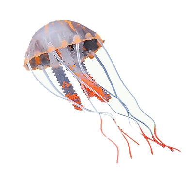 5x(Meduse Artificielle Orange En Plastique Decoration Aquarium WT