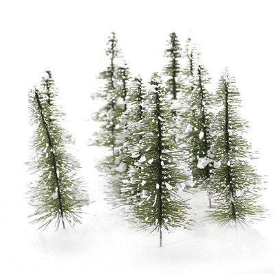 10 TREES MODEL RAILROAD with White Snow Winter CHRISTMAS SCENES O HO SCALE