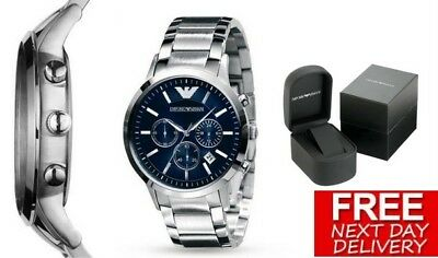 New Emporio Armani Ar2448 Stainless Steel Blue Chronogrpah Men's Watch