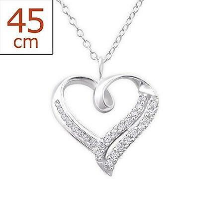 Womans Sterling Silver Heart Necklace with CZ Gemstones Gift Boxed Jewellery