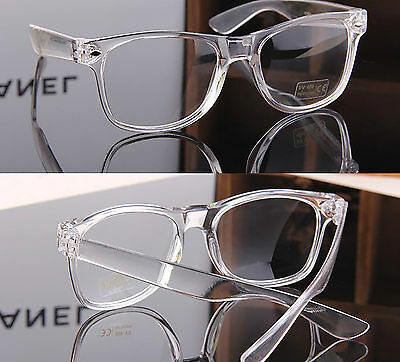 Clear Lens Acrylic Transparent  Square Frame Fashion Glasses Mens Women's