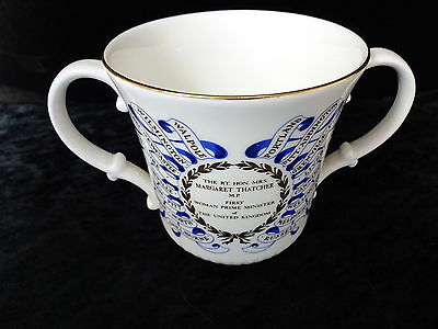 C1979 Doulton China Two-Handled Cup - Mrs Margaret Thatcher, First Woman PM, UK