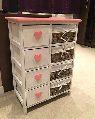 Shabby Chic Princess Girls Bedroom Chest Of Draws With Wicker Baskets Kids Room