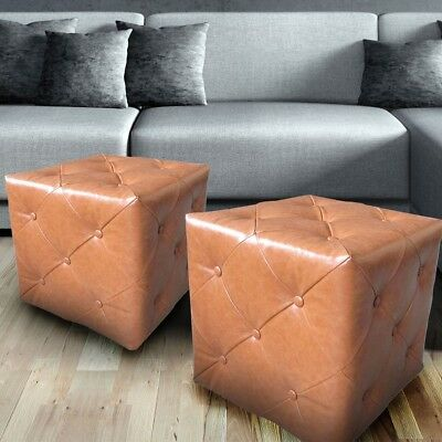 Set of 2 dice stools housing office storage option footstool leather look button