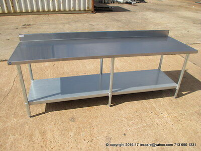 """New Stainless Steel Work Prep Table 96"""" x 30"""" , With Back Splash, NSF"""