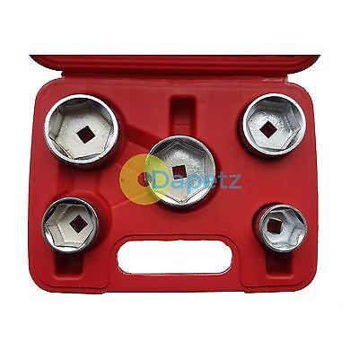 """Oil Filter Socket Set Removal Tool 3/8"""" Drive 24, 27, 32, 36, 38mm Low Profile"""