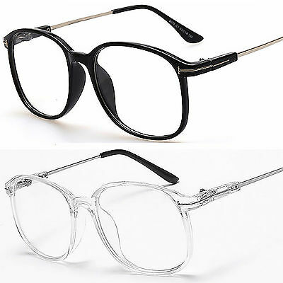 Large Oval Round Clear Lens Fashion Glasses Slim Frame Mens Women's