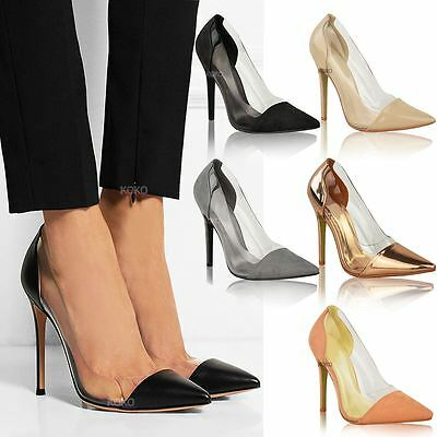 Womens Ladies Perspex Clear Stiletto High Heel Sandals Party Slip On Courts Size