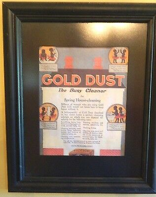 """Vintage Black Americana Gold Dust """"The Busy Cleaner"""" Framed Advertisement"""